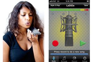 逆カラオケアプリ「LaDiDa(ラディダ)」 録音画面:シンプルなアイコンと ボタン(右)/ 録音イメージ(左)
