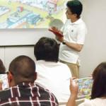 「園児の遊び方が変わる!」ではスマートエデュケーションの井上氏が同社の教育アプリを紹介。受講者は操作だけでなく、開発コンセプトも学んだ