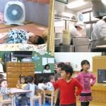 保育室や給食室の棚の上などに設置された空気清浄機。小型で軽いため持ち運びも可